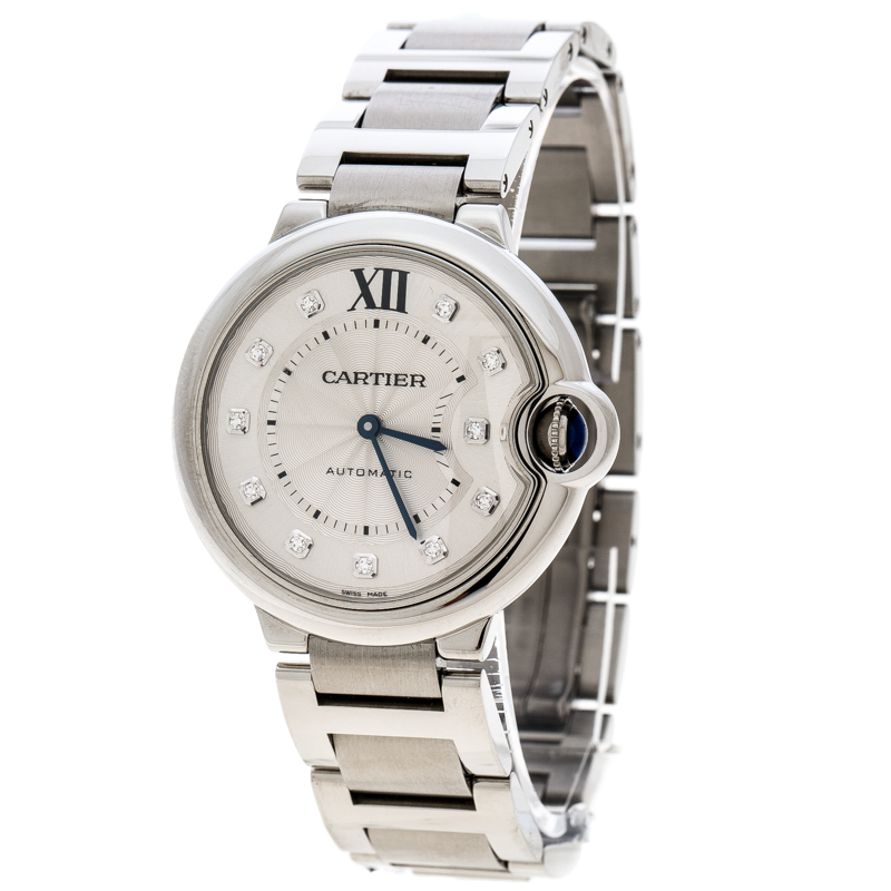 Cartier Silver Stainless Steel Ballon Bleu Diamonds 3284 Women's Wristwatch 36 mm