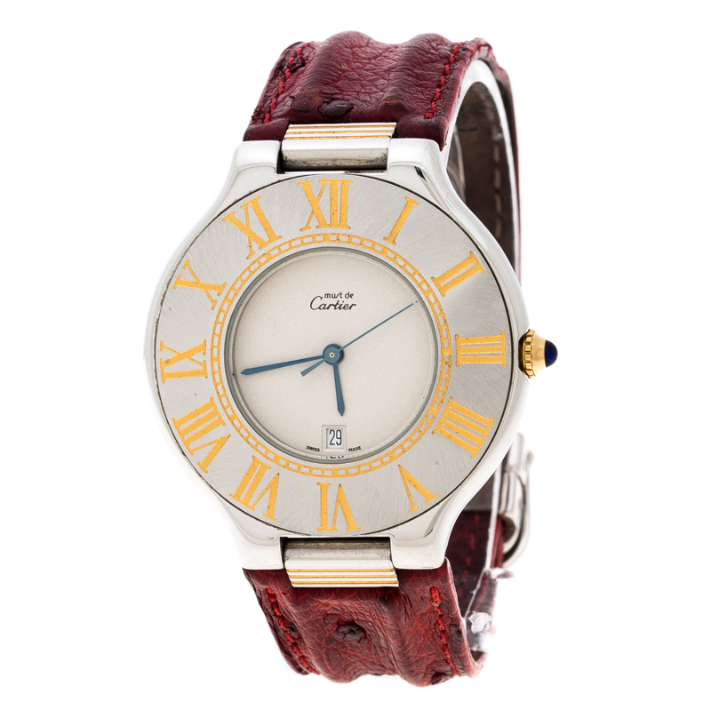 Cartier Cream Yellow Gold Plated and Stainless Steel Must de Cartier 21 Women's Wristwatch 34 mm