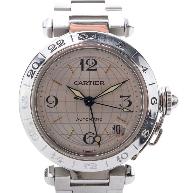6682c8c03c9de ... Cartier Silver Stainless Steel Pasha C GMT Women's Wristwatch 35MM.  nextprev. prevnext