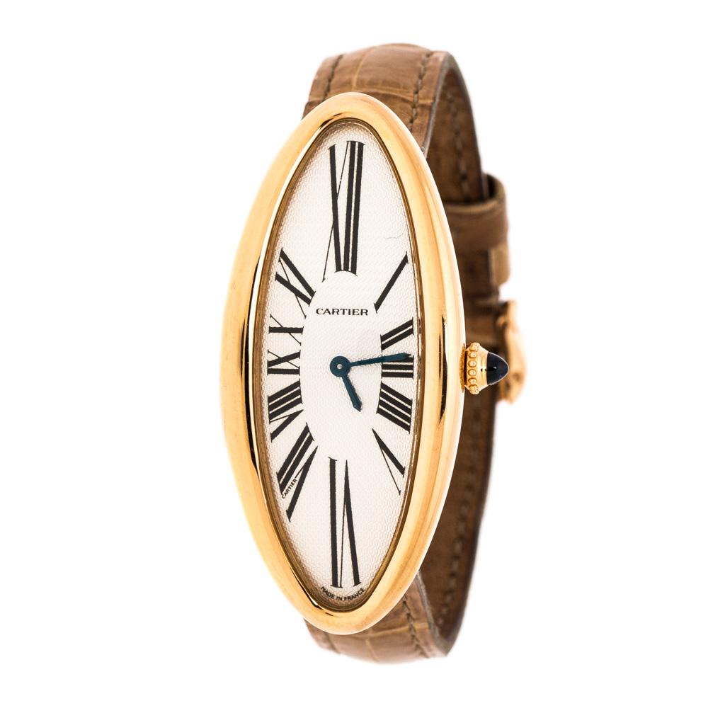Cartier Silver 18K Rose Gold Baignoire Allongee 2515 Women's Wristwatch 21 mm