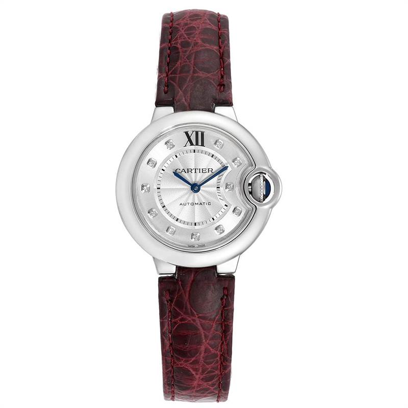 Cartier Silver Stainless Steel Ballon Bleu W4BB0009 Women's Wristwatch 33MM
