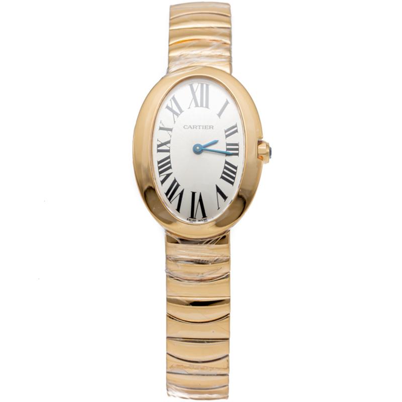 Cartier Silver Dial Baignoire 18K Rose Gold Women'S Watch 32MM