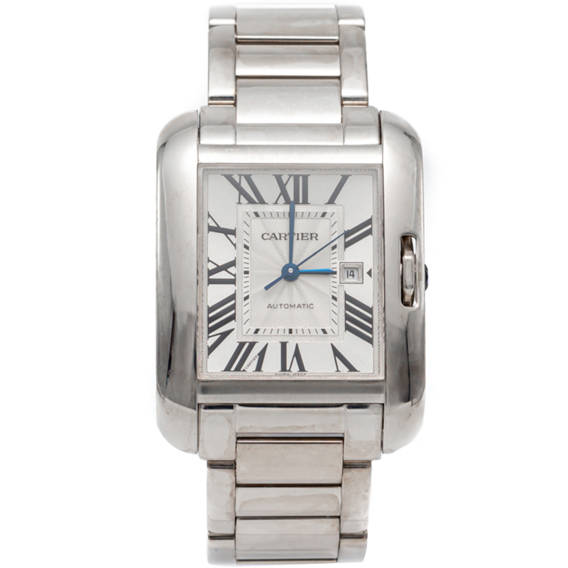 Cartier Silver Tank Anglaise Medium Automatic White Gold Watch 39MM