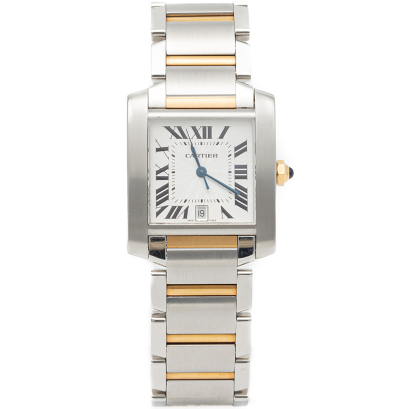 Cartier Silver Tank Francaise Steel & Yellow Gold Automatic Watch 28X32MM
