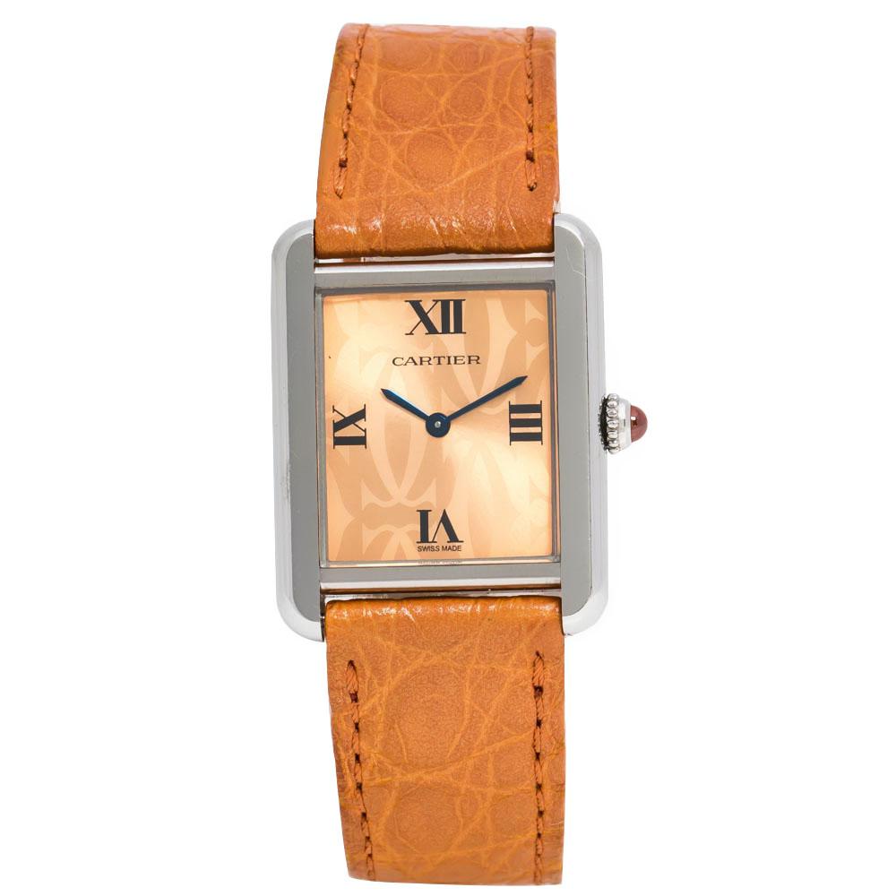 Cartier Orange Stainless Steel Tank Solo 2716 Women's Wristwatch 24 mm