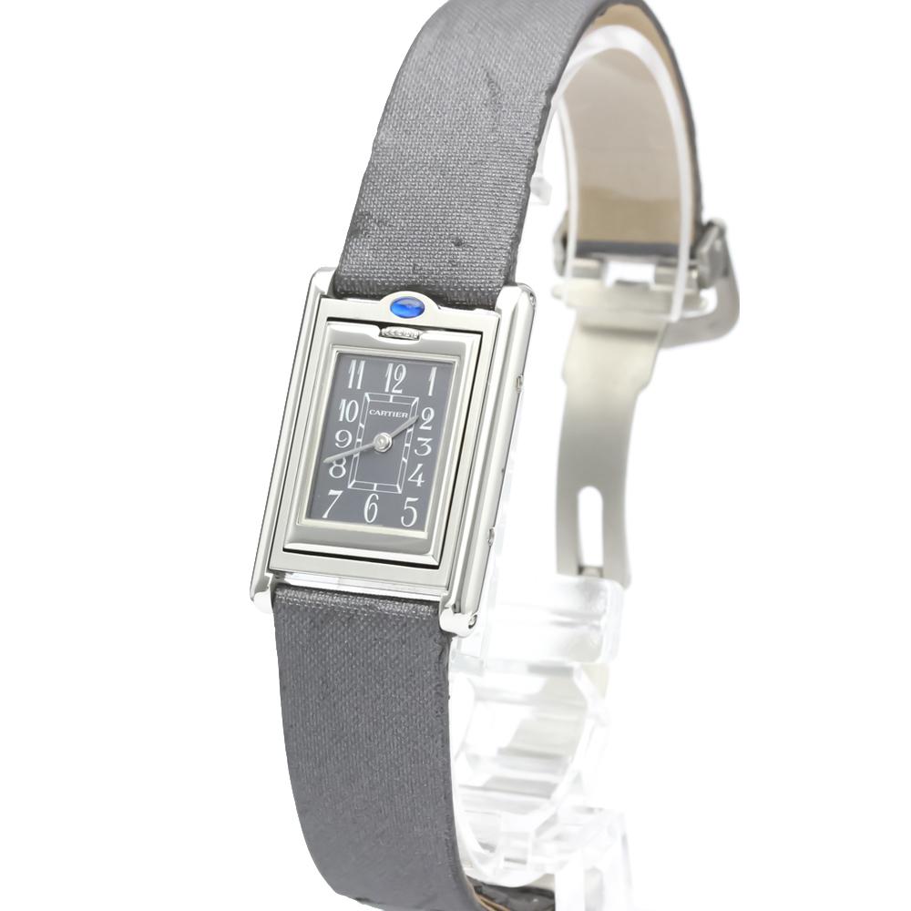 Pre-owned Cartier Grey Stainelss Steel Tank Basculante Reverso Quartz W1016830 Women's Wristwatch 22 Mm