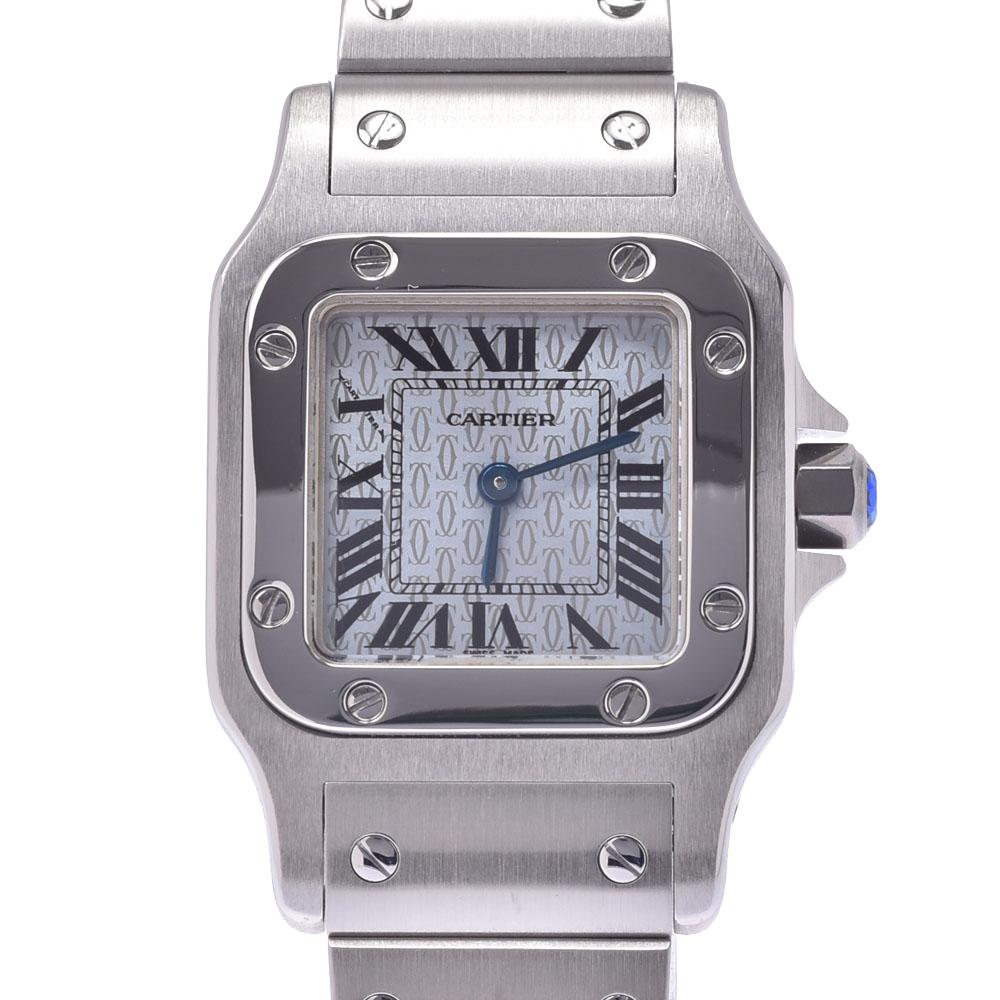 Cartier Santos Blue Stainless Steel Santos Galbee Quartz Women's Wristwatch 23 x 20 MM