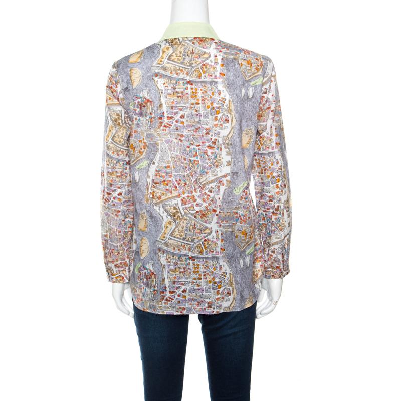 sale online big sale lace up in Carven Multicolor Paris Map Print Cotton Contrast Collar Long Sleeve Shirt M