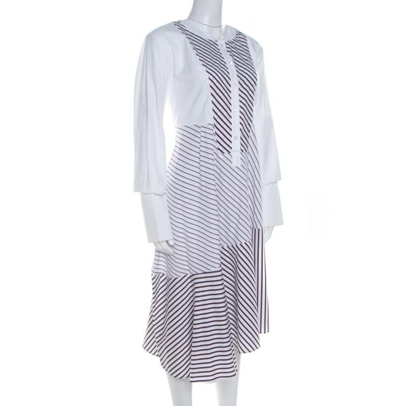 Carven Blanc Multi De Coton À Rayures Panneaux Asymétrique Ourlet Midi Robe De L