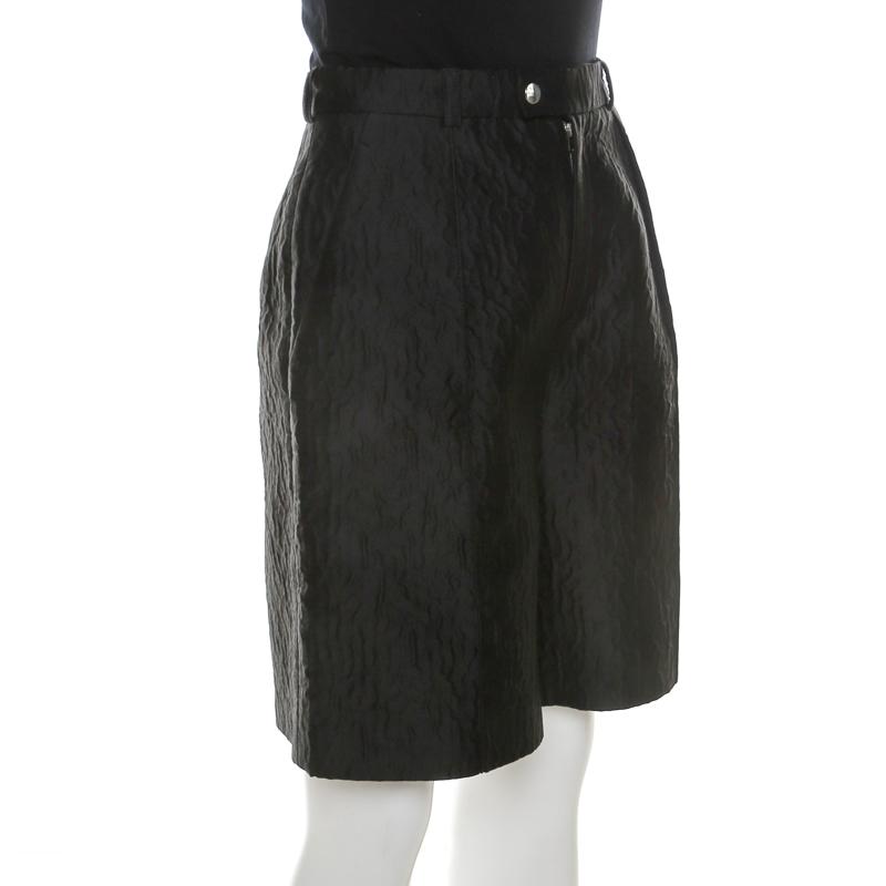 Carven Noir Texturé Taille Haute Cloque Short M