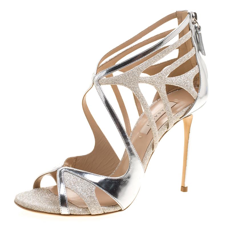 b976d4f2fa Casadei Metallic Silver Leather and Glitter Barbarella Cutout Sandals Size  37