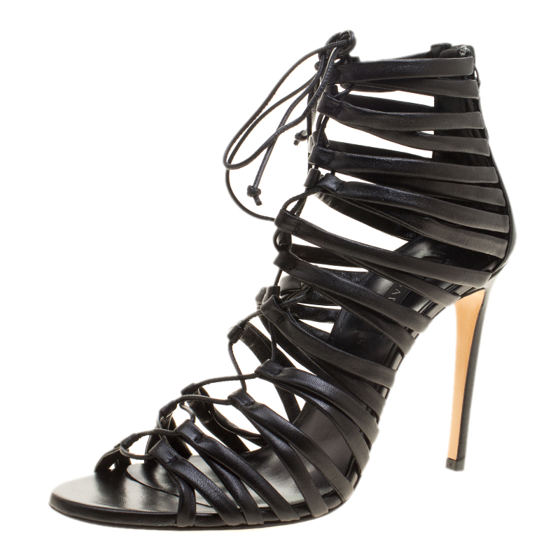 ecfc3824e693 ... Casadei Black Strappy Leather Lace Up Gladiator Sandals Size 37.5.  nextprev. prevnext