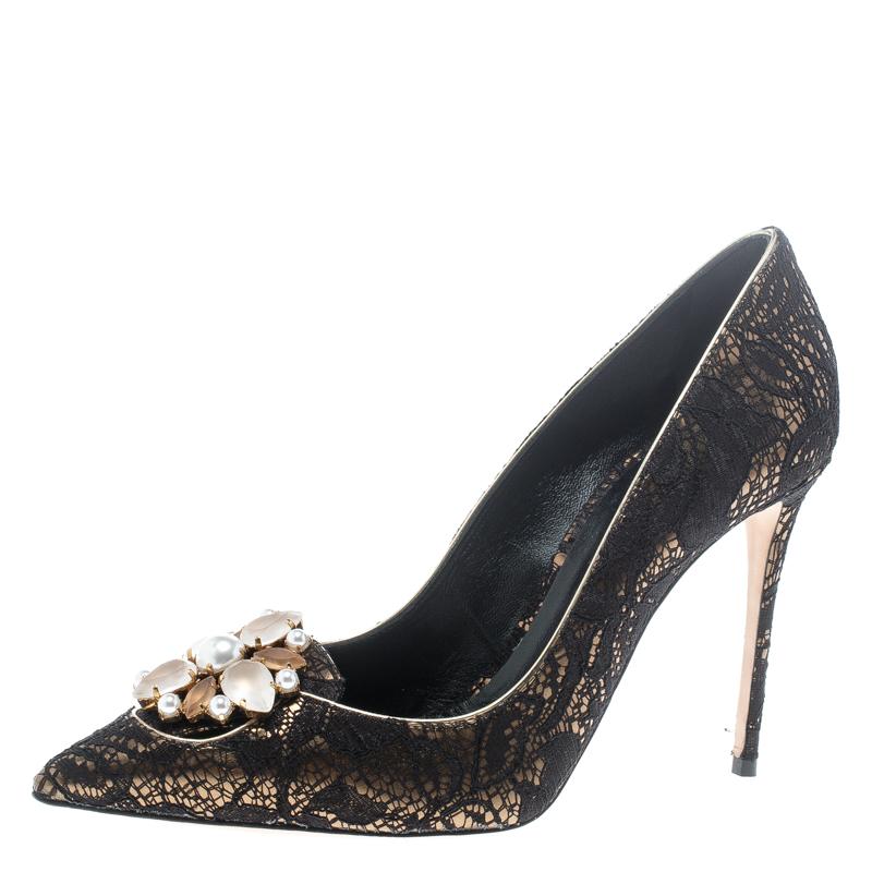 ebdd3058e ... Casadei Black Lace Giulia Embellished Pointed Toe Pumps Size 37.  nextprev. prevnext