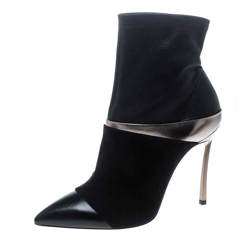 429ca695a0ec ... Casadei Black Suede and Metallic Leather Pointed Toe Ankle Boots Size  37. nextprev. prevnext