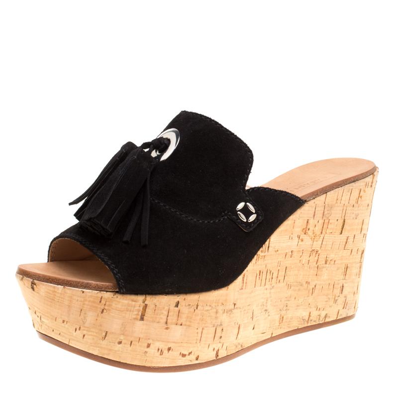 832b2357887 ... Casadei Black Suede Tassel Peep Toe Cork Platform Wedge Slides Size 40.  nextprev. prevnext