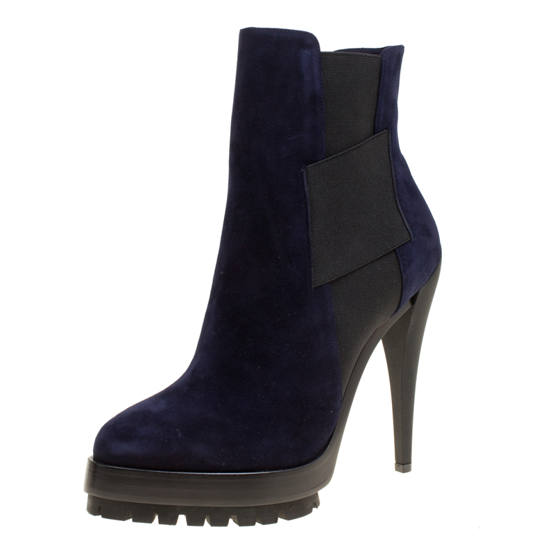 Buy Casadei Navy Blue Suede Platform Ankle Boots Size 37 154104 At