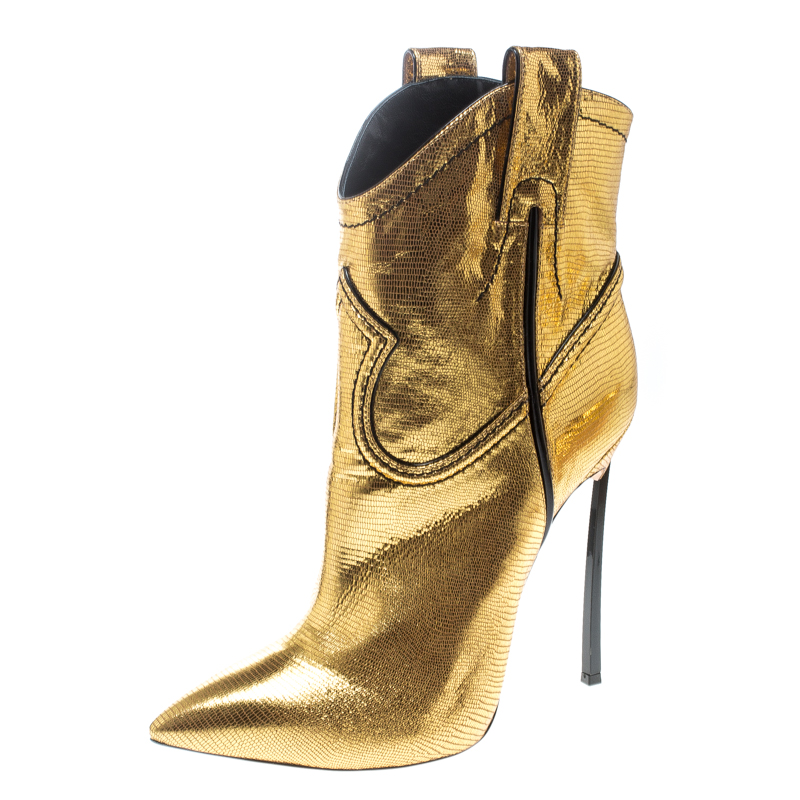 5c60719a6ccc ... Casadei Metallic Gold Embossed Lizard Leather Stiletto Heel Cowboy Boots  Size 40. nextprev. prevnext