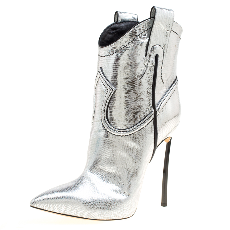 ad13dfb42b6 Casadei Metallic Silver Embossed Lizard Leather Stiletto Heel Cowboy Boots  Size 40
