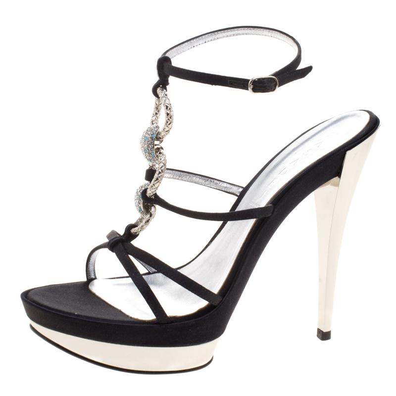 Casadei Black Satin Crystal Embellished Platform Strappy Sandals Size 40