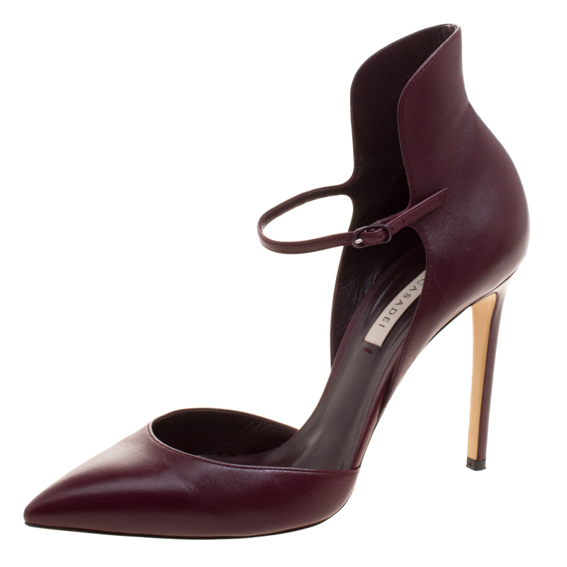 9a708bc0b4175 Buy Casadei Burgundy Leather Cappa Ankle Strap D'orsay Pumps Size 39 ...