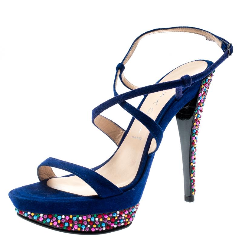 Casadei Royal Blue Suede Crystal Embellished Heel Ankle Wrap Platform Sandals Size 36.5
