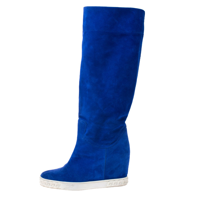Casadei Blue Suede Knee Length Wedge Boots Size
