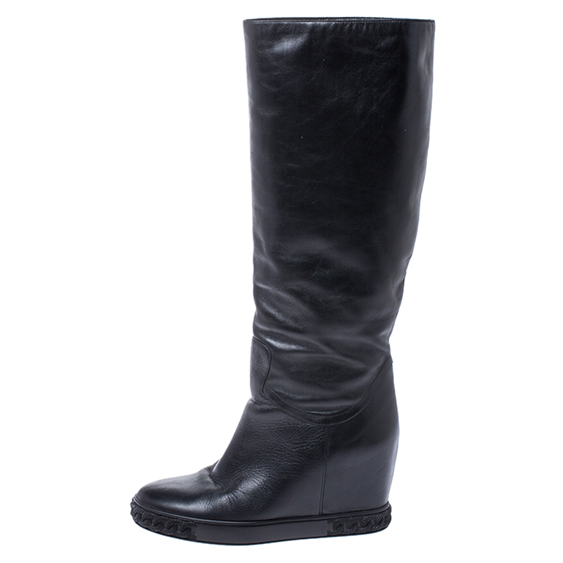 Casadei Black Leather Chain Motif Knee Boots Size