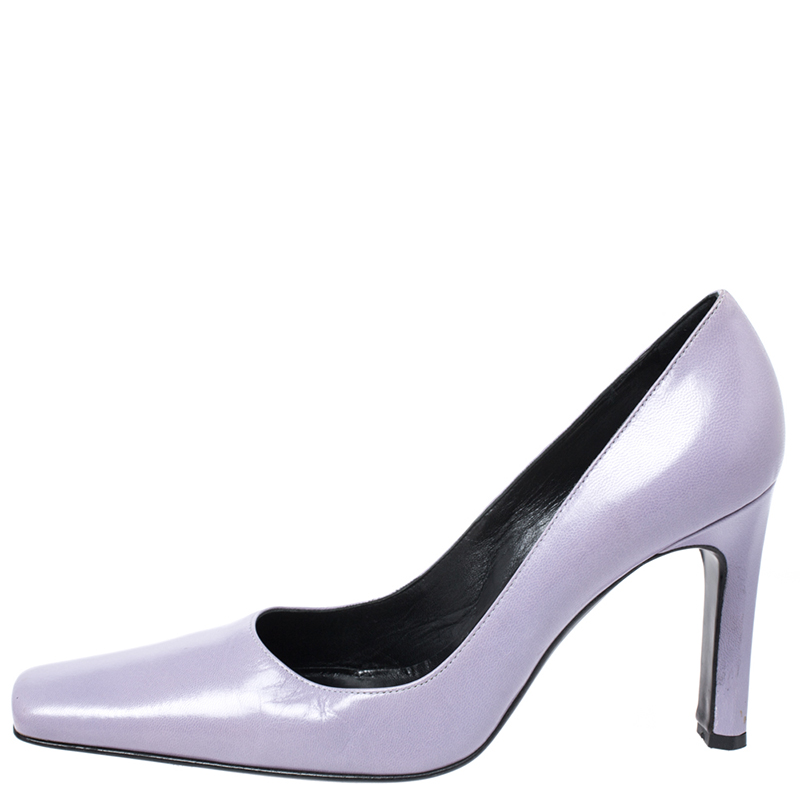 Casadei Lilac Leather Square Toe Pumps Size 38, Purple  - buy with discount