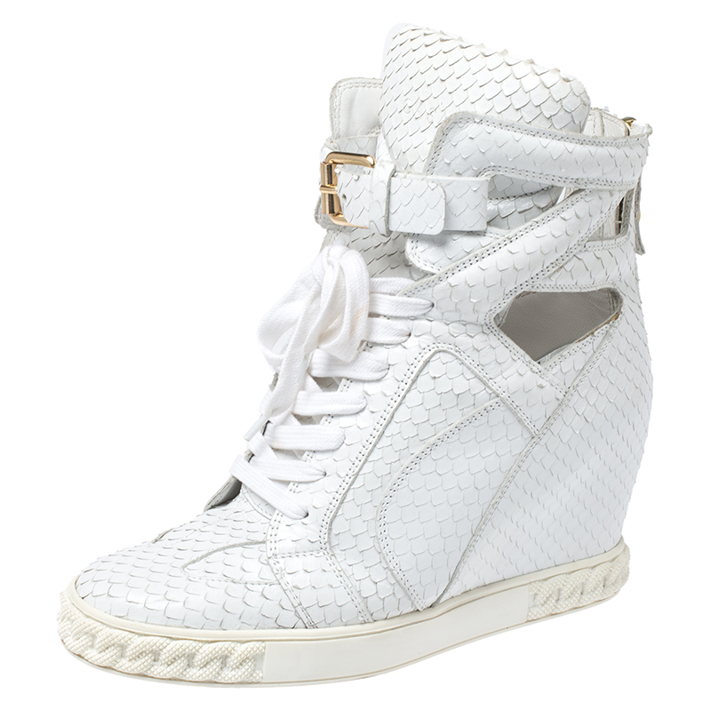 Casadei White Python Embossed Leather Wedge Cut Out Chain Motif Buckle Ankle Boots Size 40