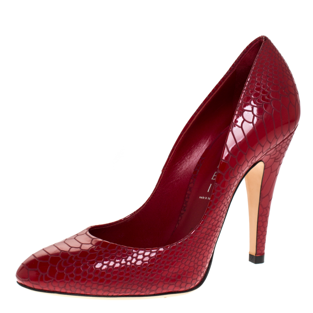 Casadei Red Python Embossed Patent Leather Round Toe Pumps Size 38.5