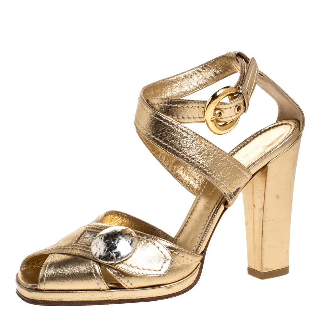Casadei Metallic Gold Leather Button Embellished Cross Ankle Strap Sandals Size 37