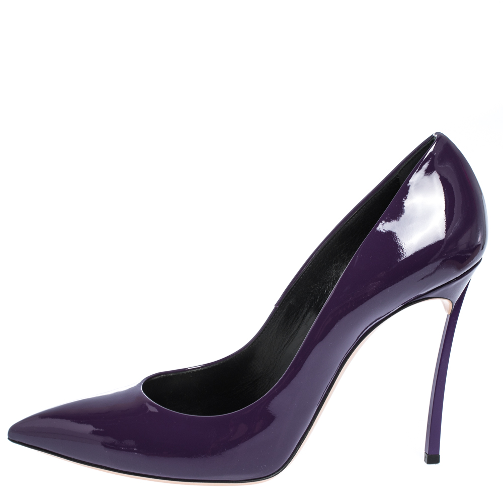 Casadei Purple Patent Leather Pointed Toe Pumps Size