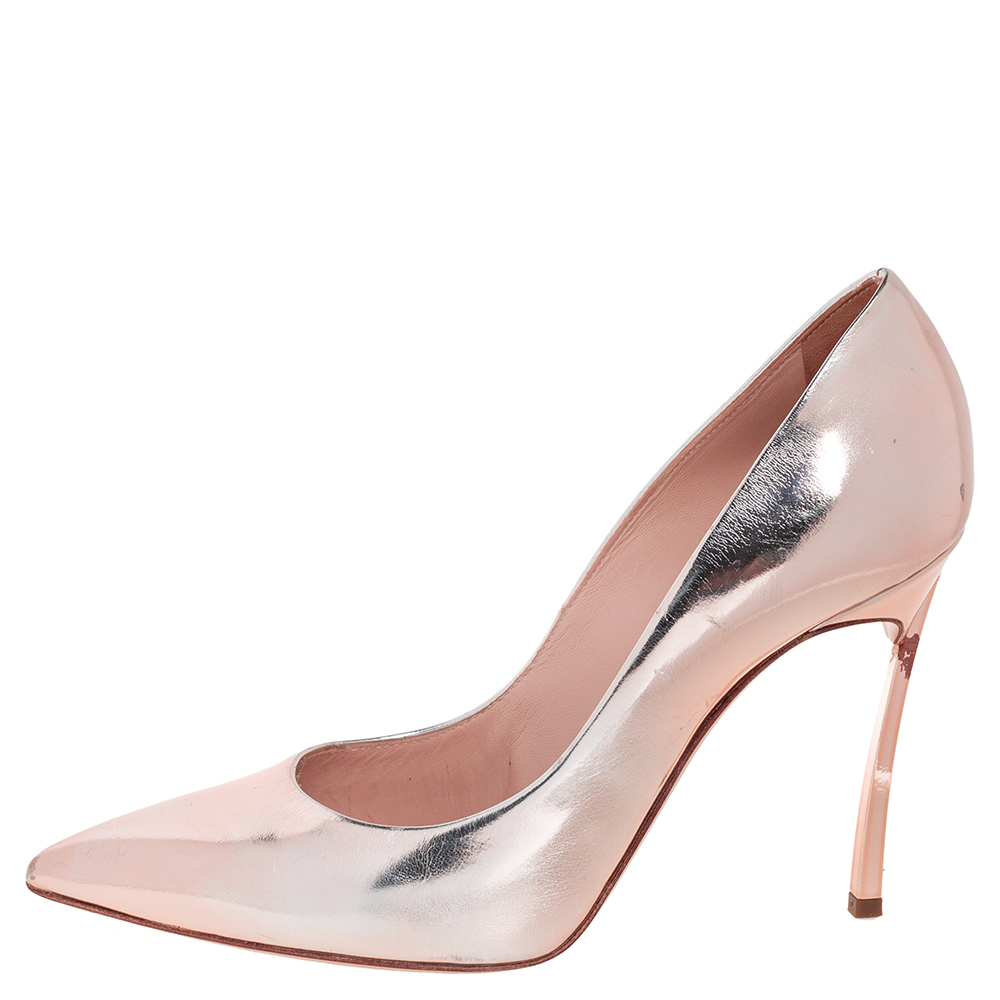 Casadei Rose Gold Leather Blade Pointed Toe Pumps Size 36  - buy with discount