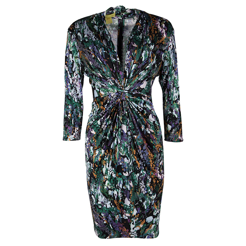 Catherine Malandrino Multicolour Printed Silk Jersey Gathered Long Sleeve Dress L