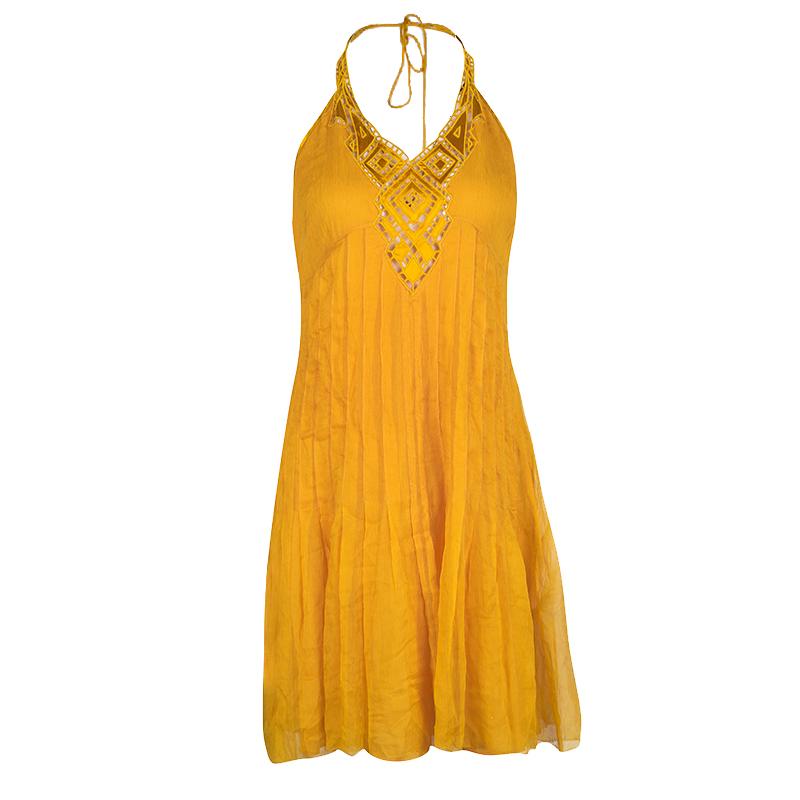 Catherine Malandrino Mustard Yellow Silk Embroidered Halter Neck Dress M