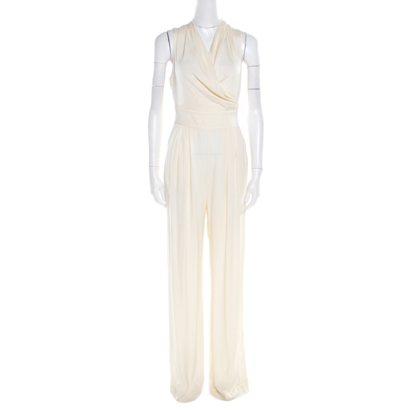 Catherine Malandrino Favorites Cream Silk Waist Tie Detail Jumpsuit S