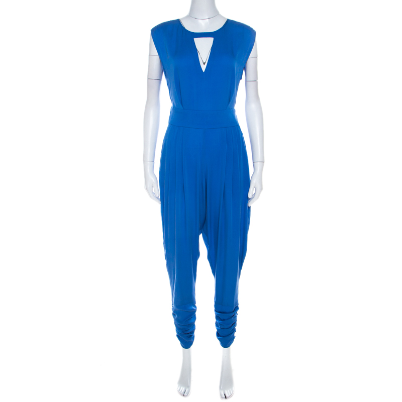 Catherine Malandrino Cobalt Blue Silk Cut Out Detail Carrie Harem Jumpsuit S