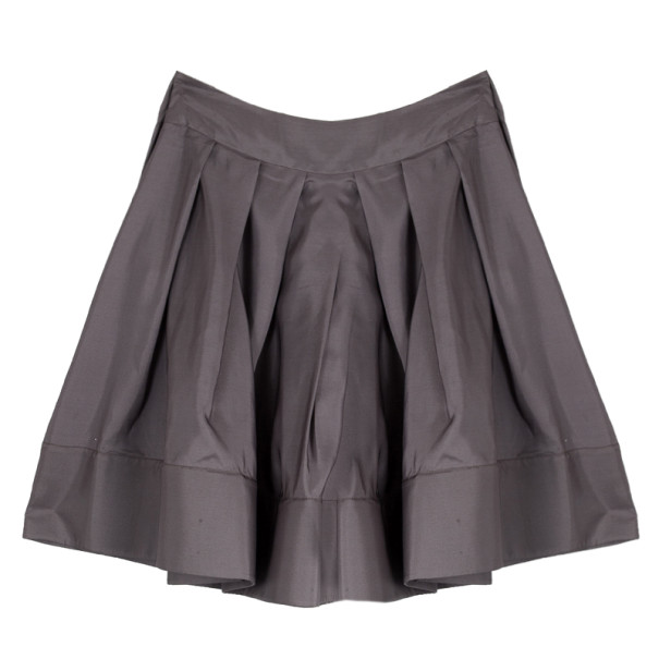 Celine Grey Silk Full Pleated Skirt M