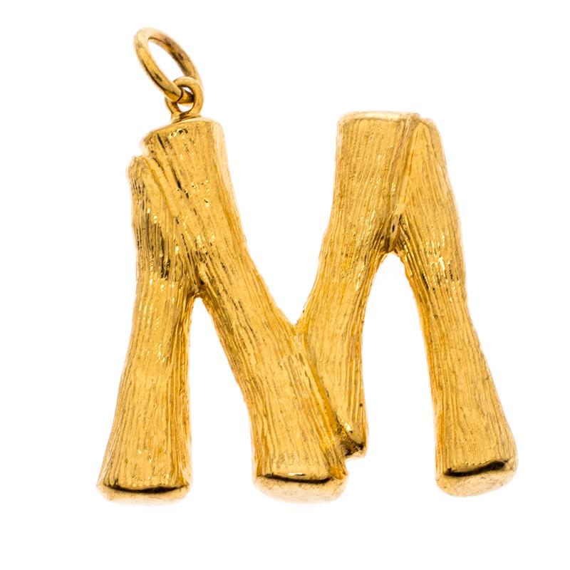 Celine Alphabet 'M' Textured Gold Tone Pendant
