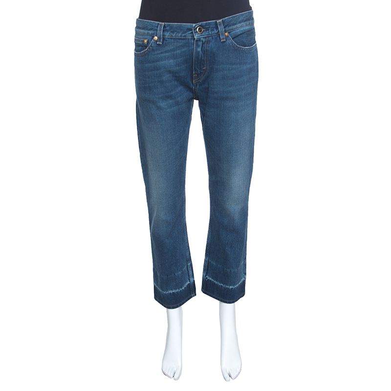 Buy Celine Indigo Faded Effect Denim Straight Jeans M 152212 at best ... 124675d64f87c
