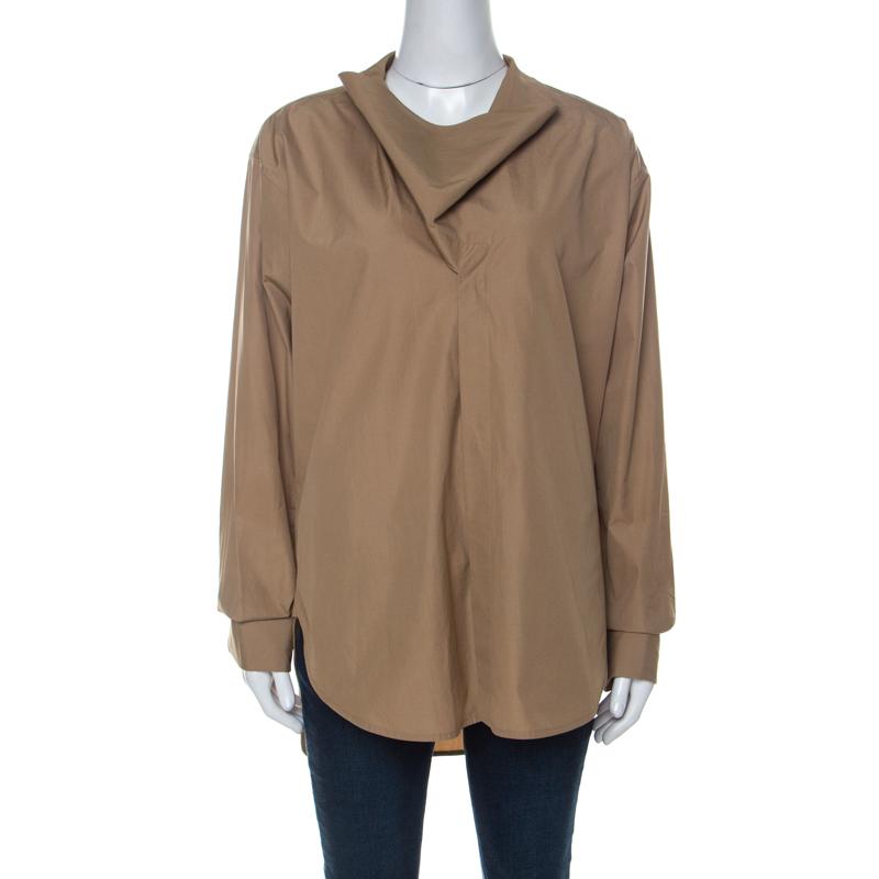 Celine Khaki Beige Cotton Flap Collar Detail Button Front Shirt M