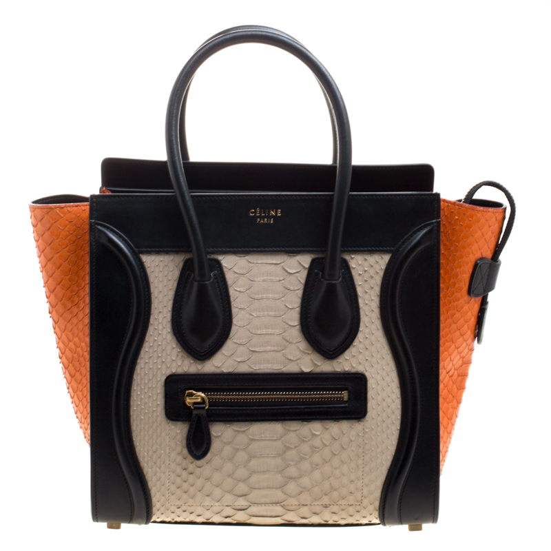 e36a4346023c4 إشتري حقيبة يد سيلين لاغدغ مايكرو جلد وجلد ثعبان ثلاثية اللون 116923 ...