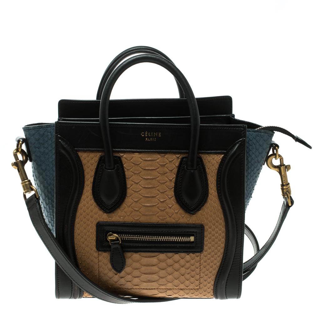 cc7fe1bce5 ... Celine Multicolor Python and Leather Nano Luggage Tote. nextprev.  prevnext