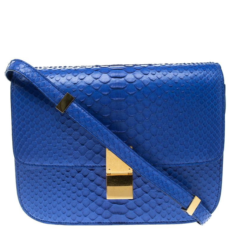 4614acf7e477 Buy Celine Blue Python Medium Classic Box Shoulder Bag 129087 at ...