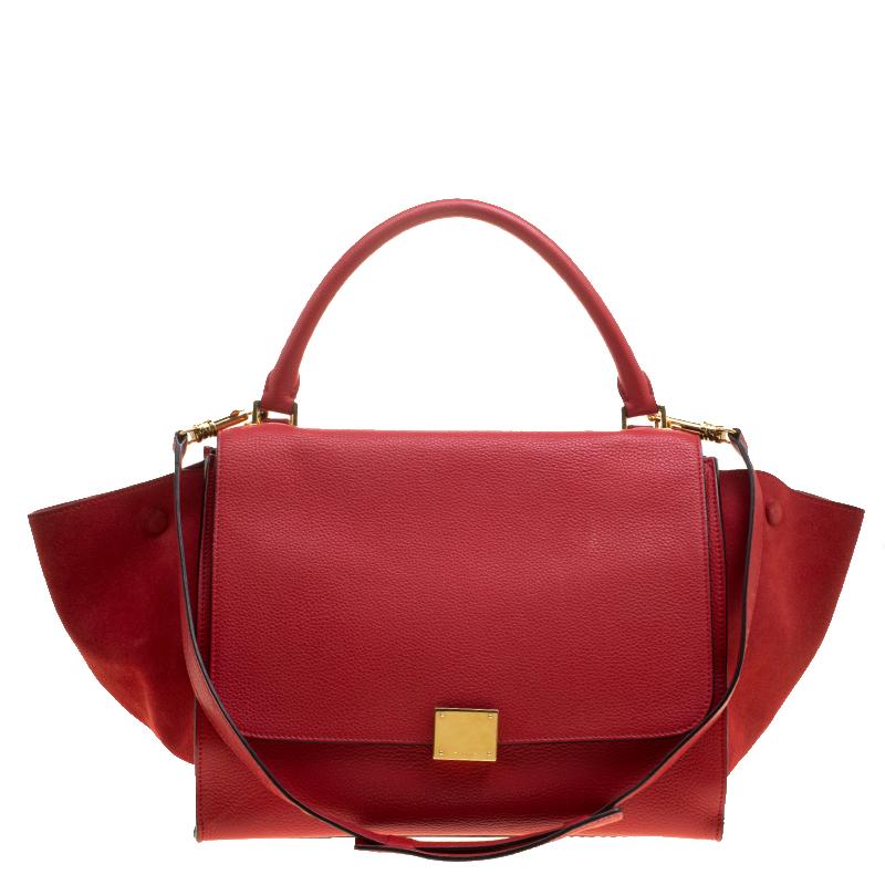 2c84d3c0acf ... Celine Red Leather and Suede Medium Trapeze Bag. nextprev. prevnext
