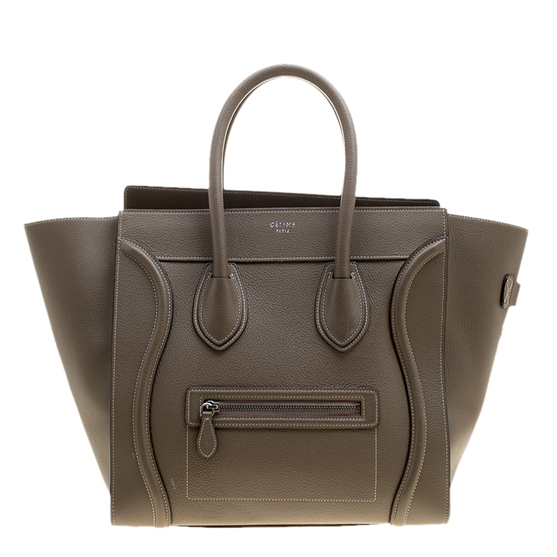 18b213eb1c14 Buy Celine Khaki Leather Mini Luggage Tote 138381 at best price | TLC