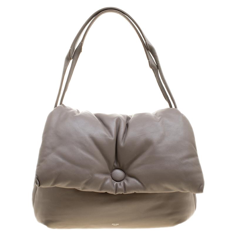 b2afd03a60 Buy Celine Grey Leather Pillow Shoulder Bag 138418 at best price