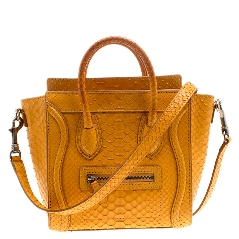 8a36fc7bf3 Buy Celine Mustard Yellow Python Nano Luggage Tote 138833 at best ...