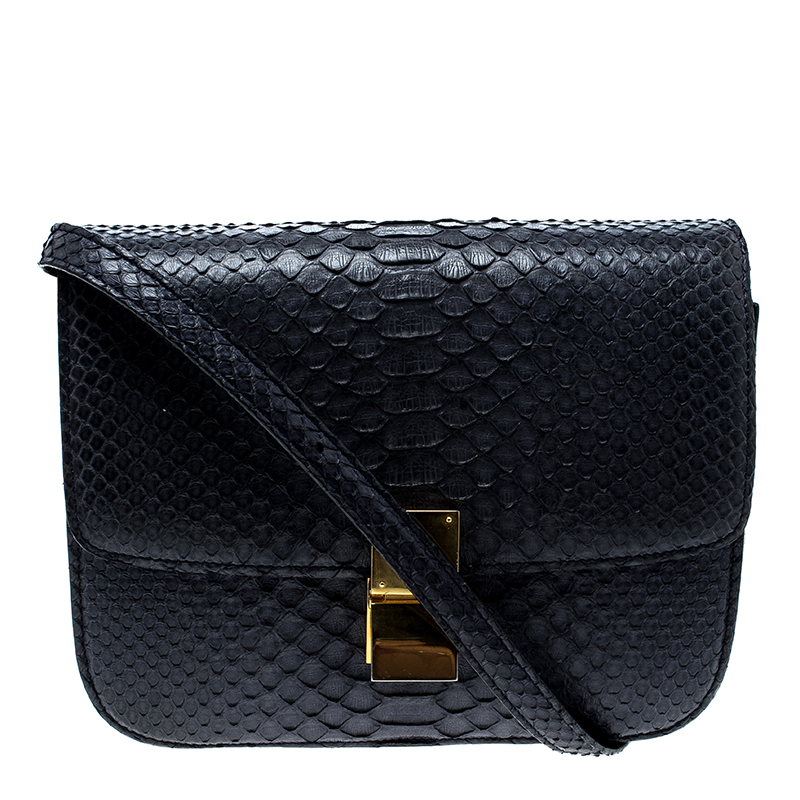 c366f71489 Celine Navy Blue Python Medium Classic Box Shoulder Bag