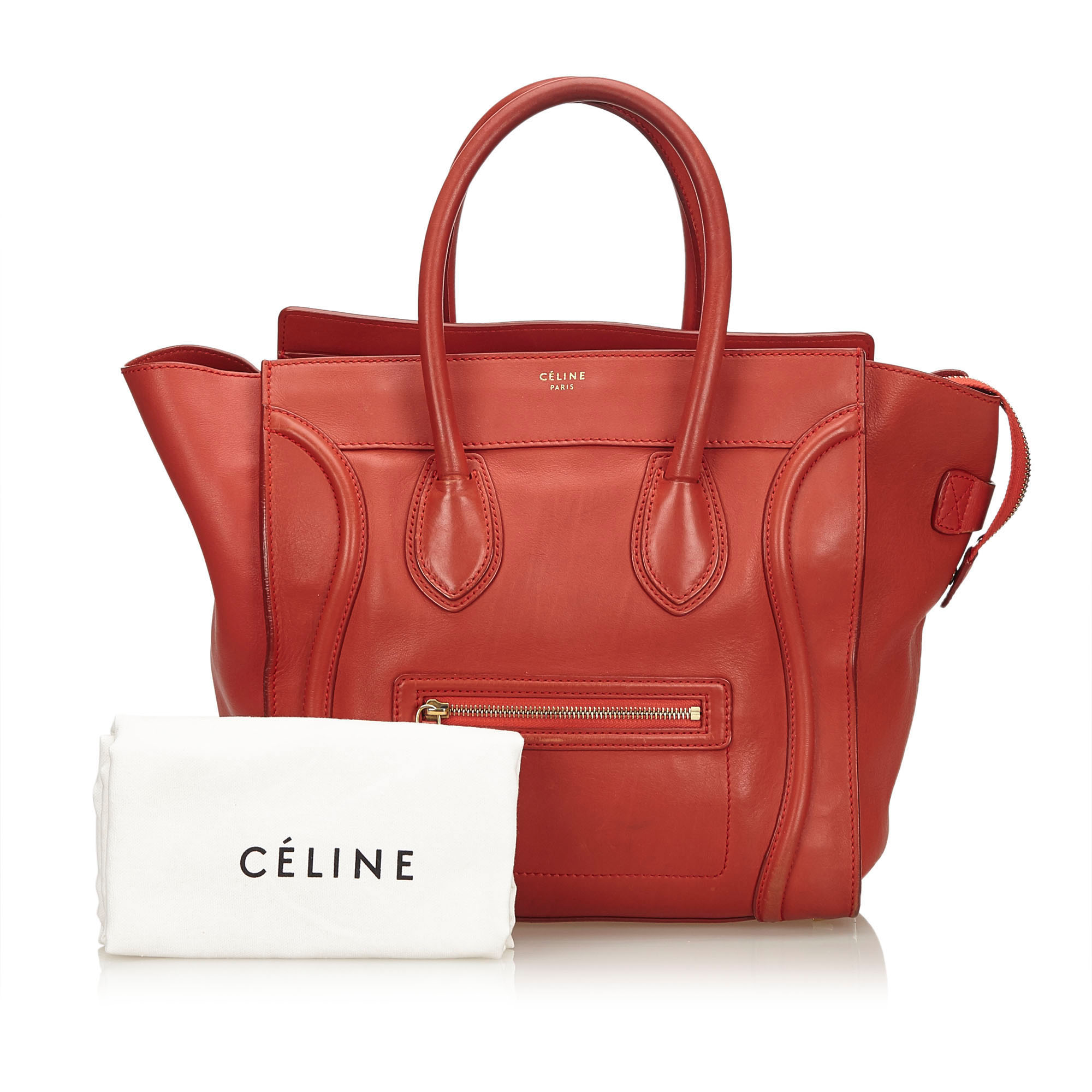 Celine Red Leather Luggage Tote Bag